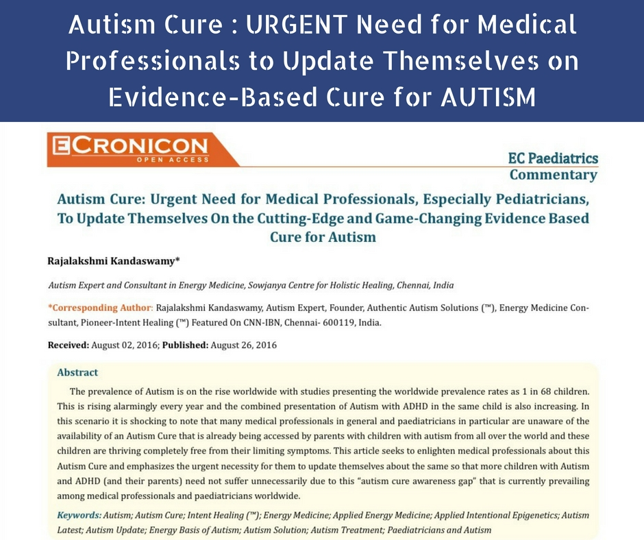 Autism Cure : URGENT Need for Medical Professionals to